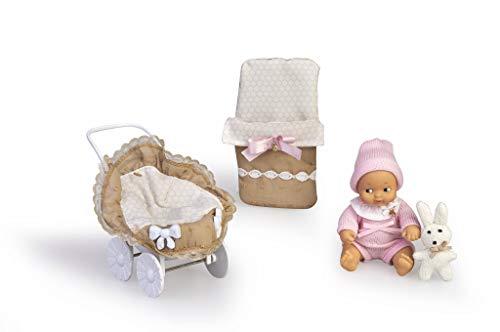 los Barriguitas- Carrito con muñeca bebé y ropita (Famosa 700015810)