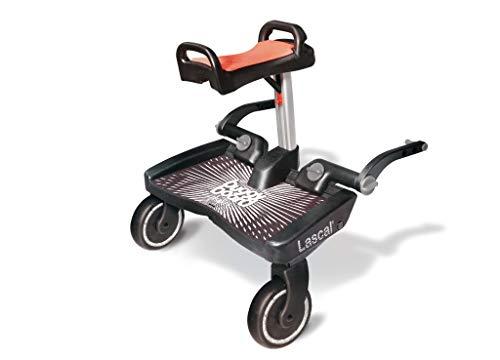 Lascal BuggyBoard Maxi+ Plataforma con sillín infantil y base grande, accesorio para niños de 2 a 6 años (22 kg), compatible con casi todas las sillitas de paseo, negro