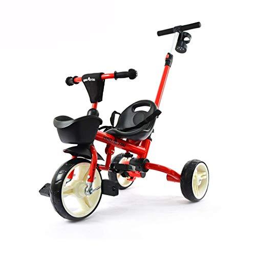 YGB Triciclo de bebé, Carrito para niños, Bicicleta, Cochecito de bebé portátil, Plegable, para Exteriores, portátil, Regalo de cumpleaños para niños (Color: Rojo)