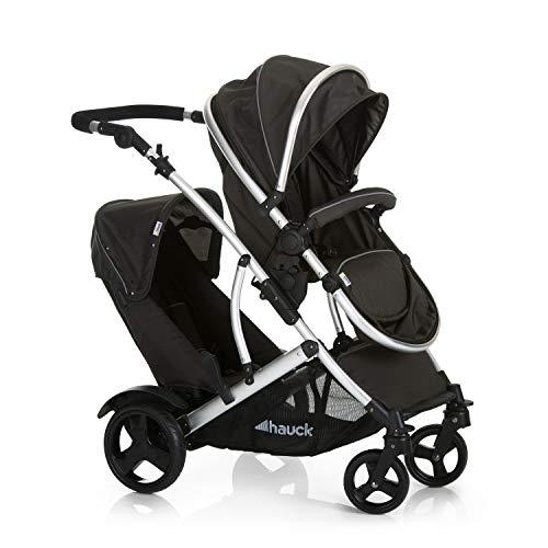Hauck Duett 2 - Carro gemelar, silla de paseo gemelar, capazo desde nacimiento transformación a sillita, asiento giratorio, desmontable segundo asiento, manillar ajustable en altura, Black Forest