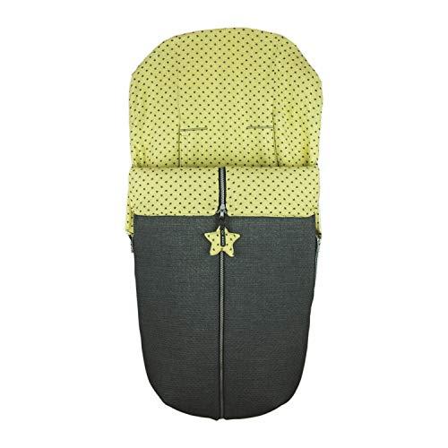 Saco Silla de Paseo Universal Rosy Fuentes- Saco Carrito Bebé - Funda de silla de paseo - Equipado para ser Ajustado perfectamente - Elaborado en Piqué y estampado en estrellas - Color amarillo