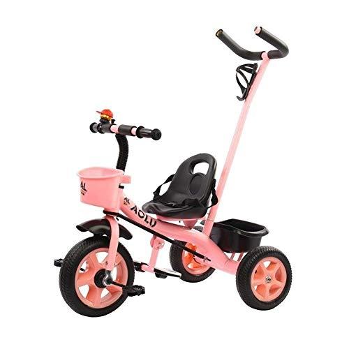 YGB Triciclo de bebé, Cochecito de bebé Ligero de 1 a 3 años Bicicleta de bebé de 2 a 6 años Bicicleta para niños y niñas Cinturón de Seguridad para Carrito de niños (Color: Rosa)