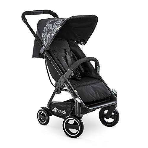 Hauck Micro silla de paseo compacta hasta 18 kg, con respaldo reglable, plegable, ligera, manillar regulable en altura, luces reflectantes, Star Caviar (negro)