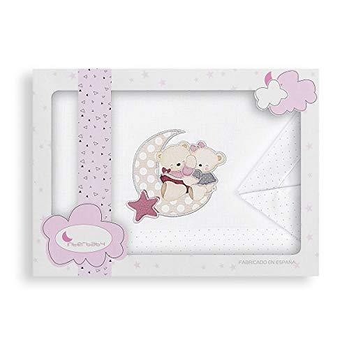 Sábanas Coche Osito Amoroso Blanco Rosa
