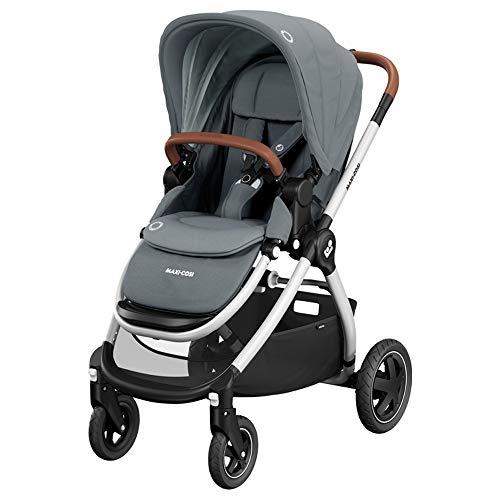 Maxi-Cosi Adorra Carrito bebé recién nacido hasta 3.5 años, cochecito plegable y reclinable en posición acostada, hamaca acolchada e gran cestilla de compra,color essential grey