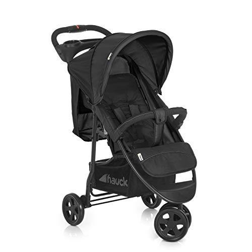 Hauck Citi Neo II - Silla de paseo de 3 ruedas, respaldo reclinable, plegado compacto, plegado con solo una mano, nacimiento hasta 25 kg, ultra ligero, solo 7.5 kg, bandeja con botellero, negro/gris