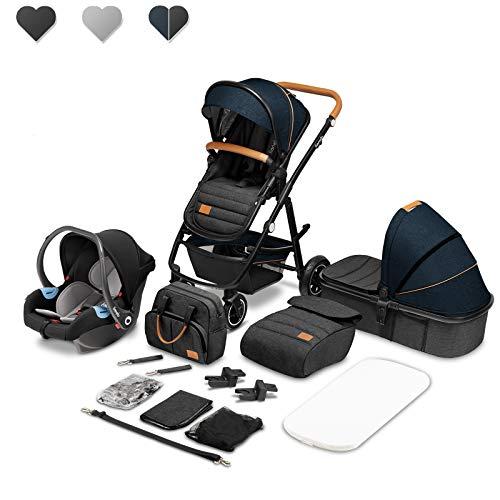 Lionelo Amber Coche de bebé multifuncional 3 en 1 Conjunto silla de paseo con el Asiento de Cubo e Capazo Manillar regulable Bolsa Mosquitero Protector de lluvia Asiento de coche (Azul)