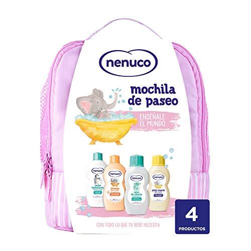Nenuco Pack Bebé Mochila de Paseo color rosa, contiene colonia, jabón, champú y leche hidratante, 1 Paquete con 4 productos x 200 ml