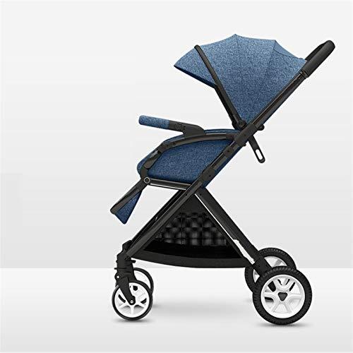 ZHSGV Cochecito de bebé Alto Paisaje Carrito de Dos vías de Dos vías Puede Sentarse reclinable Absorbador de Descarga de Choque Cochecito de bebé (Color : Dark Blue)