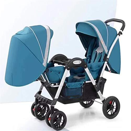 BABIFIS Cochecitos para bebés Gemelos Cara a Cara Carrito para bebés de Alto Paisaje Siéntese reclinable, Plegable, Lujoso, Carrito Doble A