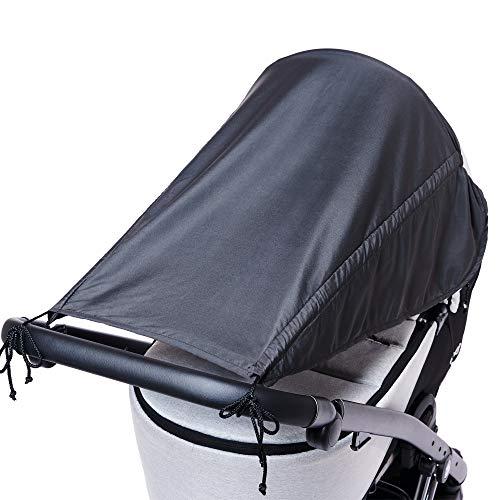 Toldo universal para cochecito de bebé con protección lateral / Protección solar con UV 50+ / Parasol para cochecito de bebé / Toldo solar/parasol grande para bebés / Color: antracita