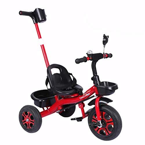 YGB Triciclo de bebé, Carrito de Tres Ruedas Bicicleta Multifuncional Triciclo para niños 1-3-6 años Cochecito de bebé Regalo de cumpleaños (Color: Rojo)