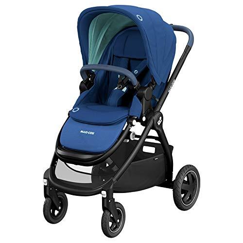 Maxi-Cosi Adorra Carrito bebé recién nacido hasta 3.5 años, cochecito plegable y reclinable en posición acostada, hamaca acolchada e gran cestilla de compra, color essential blue
