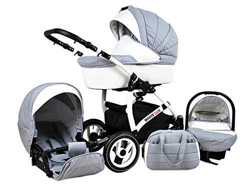 Cochecito de bebe 3 en 1 2 en 1 Trio Isofix silla de paseo Storm-White by SaintBaby Silver 2in1 sin Silla de coche