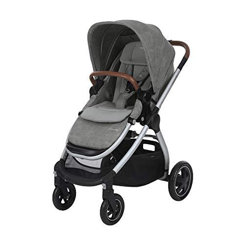 Maxi-Cosi 1310712110 Adorra Carrito bebé recién nacido hasta 3.5 años, cochecito plegable y reclinable en posición acostada, hamaca acolchada e gran cestilla de compra, color nomad grey