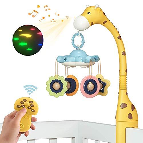 Móvil Musical Juguetes para Bebés,Juguetes para Cuna,Móvil Cuna Bebé con Proyector Luces y Sonido,Juguete Colgante Cochecito Bebe,Juguetes Colgantes Regalos para Cuna