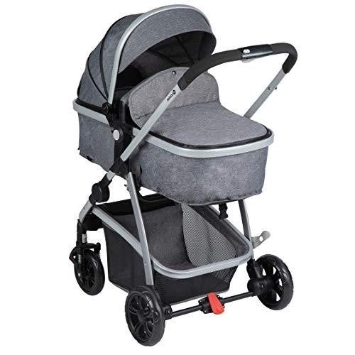 Safety 1st Hello 2 en 1 Silla de Paseo Convertible en Capazo, Silla reversible y reclinable, plegable compacto, Carrito bebé 0-3,5 años, burbuja de lluvia, color Black Chic