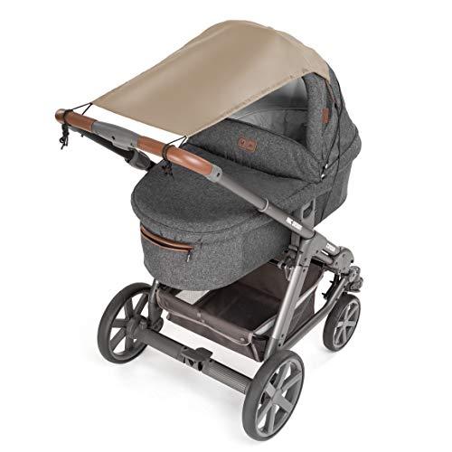 Zamboo Toldo / Protección solar universal para cochecitos, capazos y sillas de paseo   Parasol flexible con protección UV 50+ y función de persiana enrollable - Beige