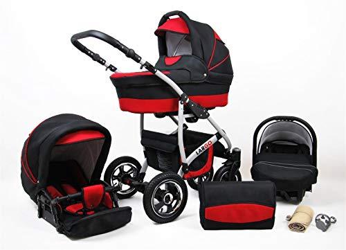 Cochecito de bebe 3 en 1 2 en 1 Trio Isofix silla de paseo New L-GO 2 by SaintBaby negro & rojo 2in1 sin Silla de coche