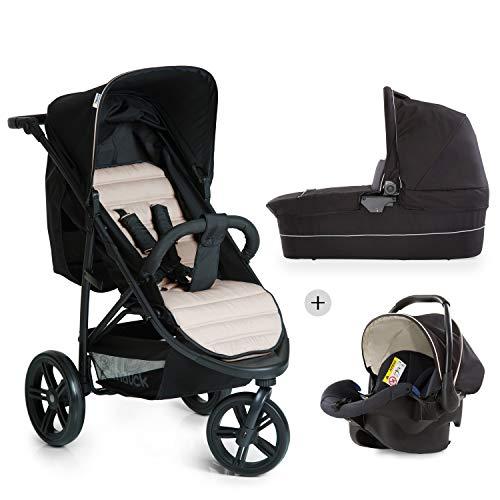 Hauck Rapid 3 Plus Trio Set - Carro deportivo 0 meses hasta 25 kg, coche de bebes 3 piezas de capazo, sillita adaptable a base isofix, ligero, manillar ajustable, plegado con una mano, grupo 0+, beige