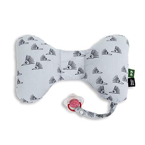 SIMPLY GOOD. Cojín de mariposa para bebé, asiento de coche, soporte para la cabeza para bebés, soporte para el cuello para edades de 0 a 36 meses, tamaño 13,7 x 8,6 pulgadas (erizos grises)