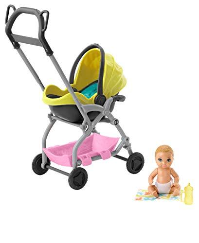 Barbie Skipper Muñeca Pequeña Bebé con Carrito Muñeca y Conjunto de Juego Skipper Canguro de Bebés de Barbie (Mattel GFC18) , color/modelo surtido