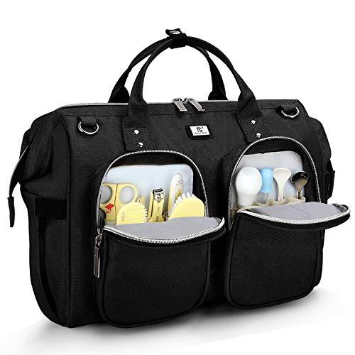 Pomelo Best Bolso Cambiador Bebé de Pañales | bolso carro gemelar | Impermeable |Gran Capacidad y Multibolsillo| Diseño universal,con 2 Ganchos Carrito de Bebé y Cambiador portatil de pañales(Negro1)