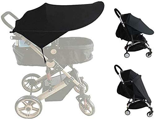 ASEOK - Funda para cochecito de bebé, toldo para cochecito de bebé, parasol para cochecito de bebé, parasol negro y cubierta opaca, protector solar, protección UV de verano
