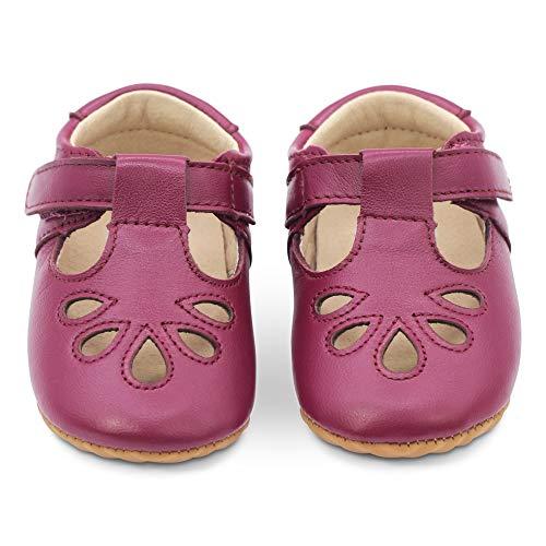Dotty Fish Lujosos Zapatos de Cuero para bebés, para Fiestas, Bodas y Otras Ocasiones Especiales. Pepitos en Ciruela. 20 EU