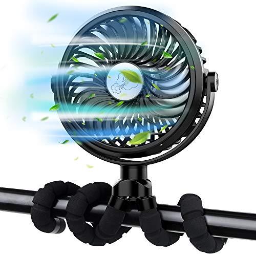 FITA Ventilador USB Ventilador Carrito Bebe, Portatil Mini Ventilador Bateria Recargable Ventilador Pinza   Rotación de 360 °, 3 Velocidades, Luces Led, 2500 mAh   para Cámping Oficina Hogar (Negro)