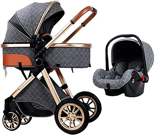 FXBFAG - Carrito de bebé multifuncional 3 en 1, plegable con una mano, carrito de bebé, con cesta y bolsa para la madre (color gris)