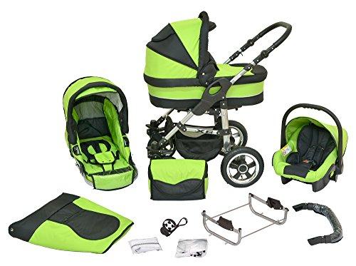 Cochecito infantil de sistema polivalente coche de niño silla de paseo sillita para niño 3 en 1 X6 saftiges verde negro