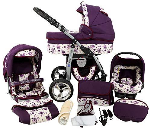 Cochecito de bebe 3 en 1 2 en 1 Trio Isofix silla de paseo D-Deluxe by SaintBaby búho lila 2in1 sin Silla de coche