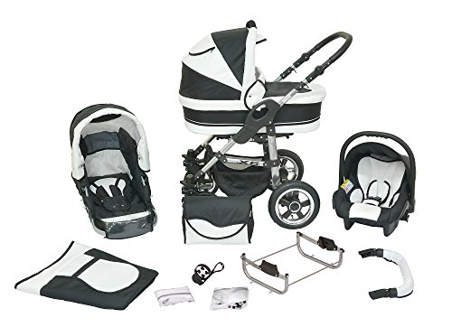 Cochecito infantil de sistema polivalente coche de niño silla de paseo sillita para niño 3 en 1 X6 negro blanco