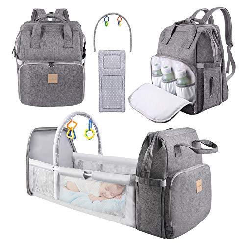 Bolsa de Pañales, Eccomum Multifuncional Mochila para Cama de Bebé Plegable con Colchón, Gran Capacidad, Portátil, Impermeable