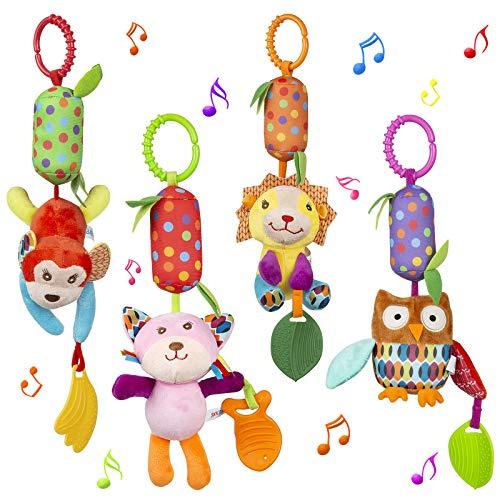 WolinTek 4 PCS Juguetes Colgantes de Animales para bebés, Colgantes para cochecitos de bebé,Sonajero recién Nacido, Sonajeros Suaves Juguetes para bebés de 3 6 9 12 Meses Niños y niñas