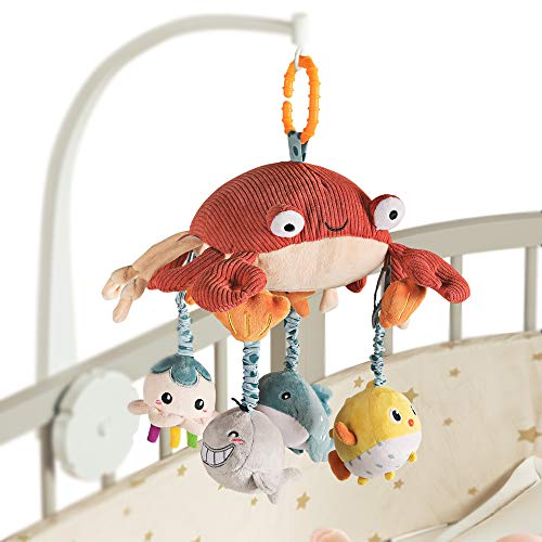 Juguete Colgante del Pesebre Espejo Tiempo Boca Abajo, Cangrejo Actividad de Peluche Animales del Cochecito de Bebé Juguetes Regalos Conjuntos de 0 3 6 9 12 Meses, Recién Nacido, Niños Pequeños