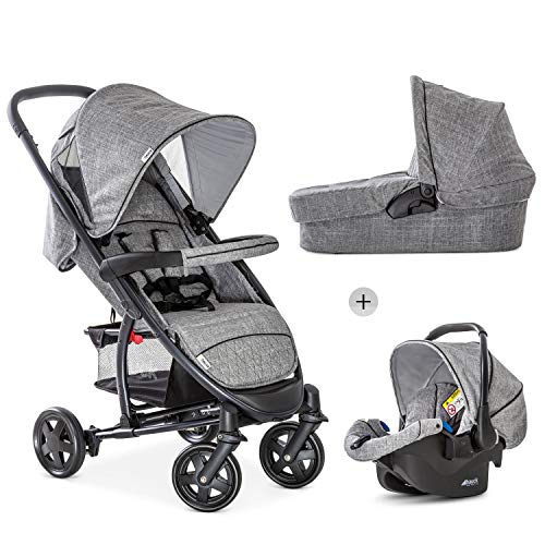 Hauck Malibu 4 Trio Set - 3 en 1, sistema de viaje funcional y ligero, Grupo 0, capazo con colchoncito, silla deportiva reclinable, desde nacimiento, plegado compacto y facil, gris