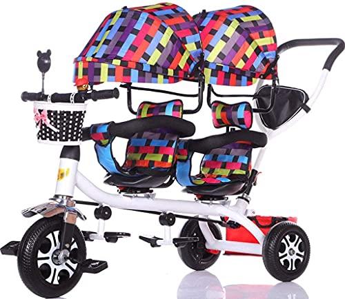 Cochecitos de bebé carro de bebé para niños doble triciclo doble para bicicleta de bebé, carrito de bebé, cesta de almacenamiento de toldo extendido (color: A)