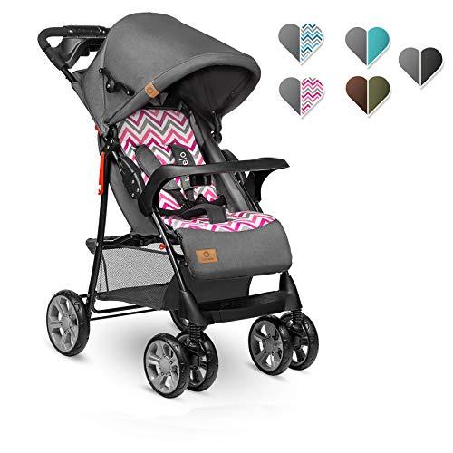Lionelo Emma Plus Silla de paseo 68 x 49,5 x 101 cm hasta 15 kg 6-36M Respaldo ajustable Cinturón de seguridad de 5 puntos Capucha profunda Organizador para padres Pink Scandi