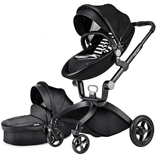Cochecito de bebé Hot Mom 2 en 1 con Sillas de paseo, 2020 Lifestyle F22 con 2 piezas - Black