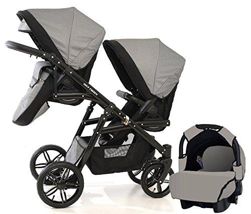 Carro doble (gemelar) niños diferentes edades. 2 sillas + 1 portabebe + accesorios. BBtwin. Gris