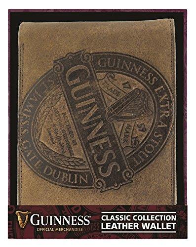 GUINNESS Marrón Billetera de cuero con colección clásica LABEL Diseño