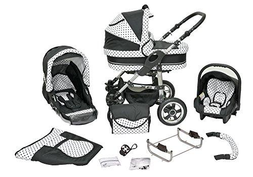 Cochecito infantil de sistema polivalente coche de niño silla de paseo sillita para niño 3 en 1 X6 negro puntos negros