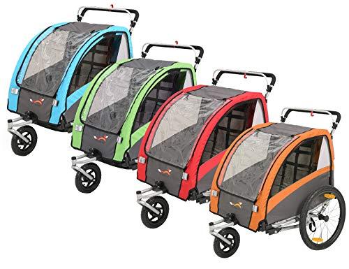 Fiximaster Remolque de bicicleta 2020 V2 multifunción, 2 en 1, giratorio 360°, para bebé, cochecito de bebé, con manillar y suspensión, color rojo BT504S
